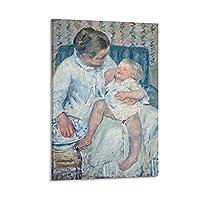 眠そうな子供を洗おうとしているメアリー・カサットの母親 ポスター装飾キャンバス絵画モダンな壁アートポスターリビングルーム、ベッドルーム、子供部屋、誕生日ギフトアートワーク,08×12inch(20×30cm)