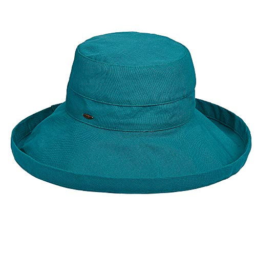 Scala Women's Cotton Hat with Inner Drawstring and Upf 50+ Rating,Teal,One Size