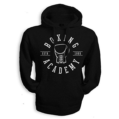net-shirts Boxing Academy Hoodie Kapuzenpullover mit Aufdruck Boxsport ali viele Größen und Farben, Größe M, Schwarz