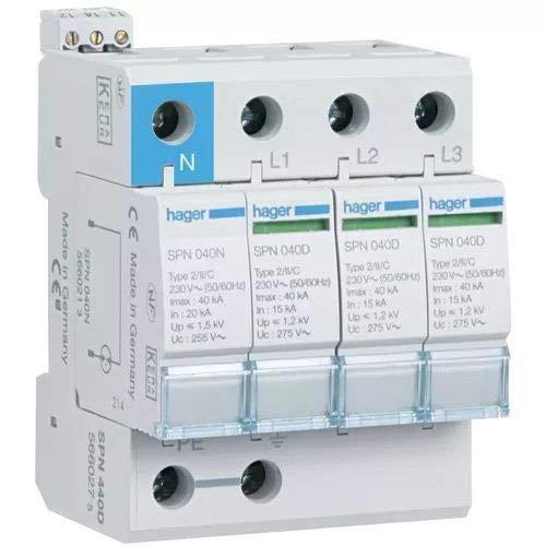 Hager spn440d Limiter Überspannungsschutz 3-polig + neutral–40kA 440V 60Hz