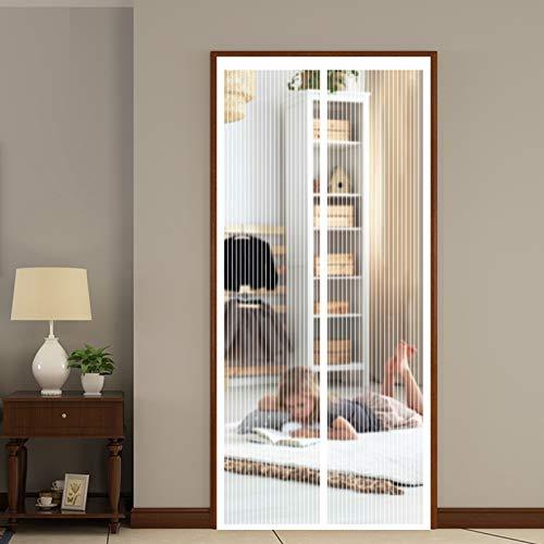 YUANBIAO Mosquitera Magnética para Puerta 180x200cm Ventilación de Verano Puerta Magnética para Plegable para Balcones, Puertas Interiores y Exteriores, Blanco
