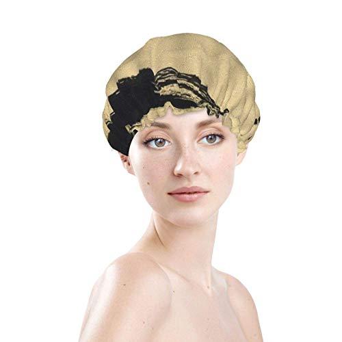 Bonnets de douche pour hommes femmes - cercle noir coup de pinceau dessin encre croquis technique à la main art créatif imperméable bai