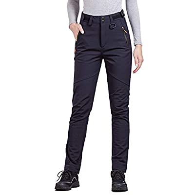 FREE SOLDIER Outdoor Women's Snow Ski Pants Soft Shell Fleece Lined Pants Water Resistant Camping Hiking Nylon Pants (Black 32W/30L)