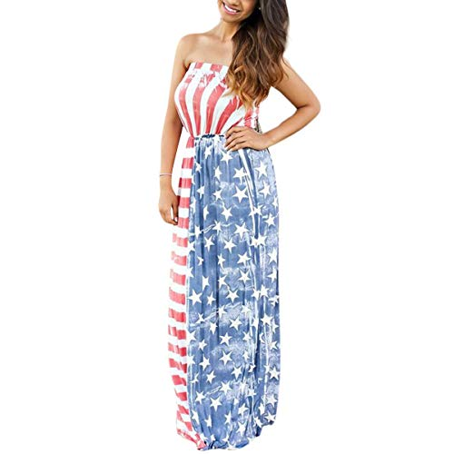 Dames zomerrok elegante zomer vintage mode meisjes strand casual modieuze rok dames American Flag Print 4 juli Patriotische hoge taille maxi-jurken