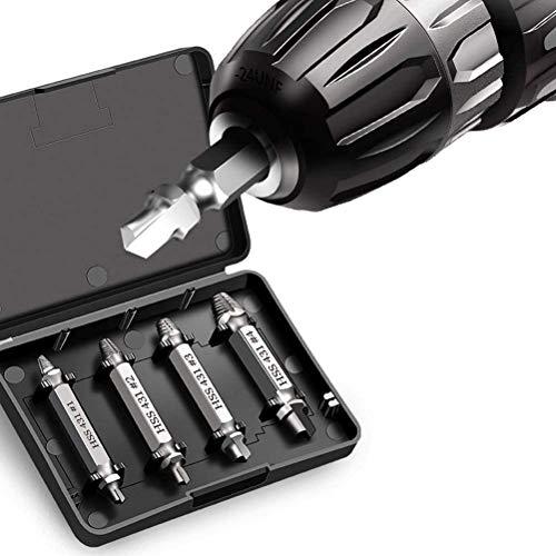 kuou Juego de 4 extractores de tornillos, juego de extracción de tornillos dañados para sacar el tornillo dañado despojado con cualquier taladro