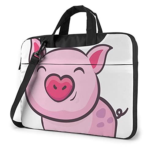 Smile Pink Pig Laptop Shoulder Bag Messenger Bag Case Sleeve Carrying Briefcase Handbag 13 Inch