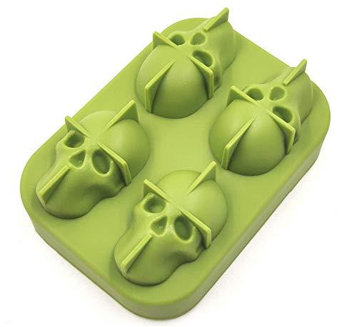 Bandeja 3D Cráneo Del Cubo De Hielo Con Tapa, De Silicona Cubo De Hielo Moldes Cafetera, Congelador Bandeja De Whisky, Whisky, Cocktail Glasses (2 Paquetes),Verde,2 packs