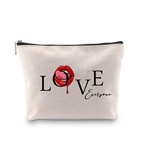 PXTIDY Love Everyone Female Beauty Makeup Bag Funny Sassy Quotes Sayings Teen Girls Cosmetic Bag Sister Bestie Girlfriend Gift