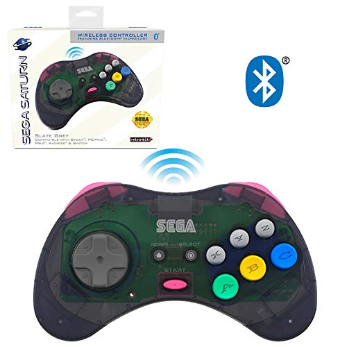 Retro-Bit Official Sega Saturn Bluetooth Controller 8-Button Arcade Pad for Nintendo Switch, PC, Mac, Amazon Fire TV, Steam - Slate Grey