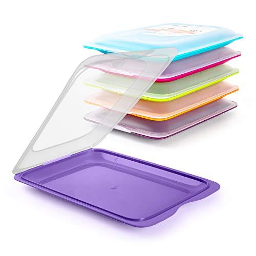 Hochwertige Aufschnitt-Boxen 6 Set Platzsparend Stapelbar (Stapelboxen) / Vorratsdosen-Set für Aufschnitt mit integrierter Servierplatte. Foodcenter Frischhaltedosen für den Kühlschrank