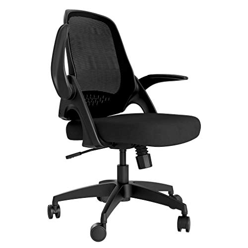 Hbada Office Chair Desk Chair Flip-up Armrest Ergonomic Task Chair Compact 120° Locking 360° Rotation Seat Surface Lift Reinforced Nylon Resin Base, Black