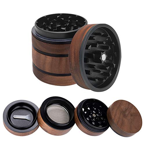 WEGRIND Herb Grinder, 4 Pieces 2.5 Inch Wooden Herb Grinder with Magnetic Lid, Large Capacity Spice Grinder with Pollen…