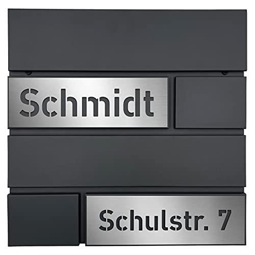 AlbersDesign - Personalisierter Design Briefkasten individuell mit Name/Anthrazit ähnlich RAL7016 - mit individuellen Edelstahl-Schildern