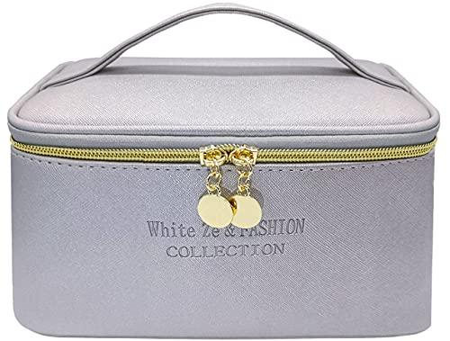 White Ze Borsa per il trucco da viaggio, borsa per il trucco impermeabile, borsa per l'organizzatore di trucco, borsa da toilette , borsa per cosmetici da donna per ragazze (Griqio)