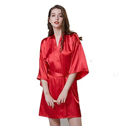 Vrouwen Kimono gewaden, Satijn Kleur Silk Kimono Short Robes voor Bruid met Oblique V-hals meerdere kleuren voor Bridal Party,3,M