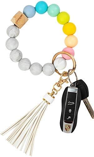 Silicone Key Ring Bracelet Wristlet Keychain for Women Teething Bracelet for Baby Bangle Circle product image