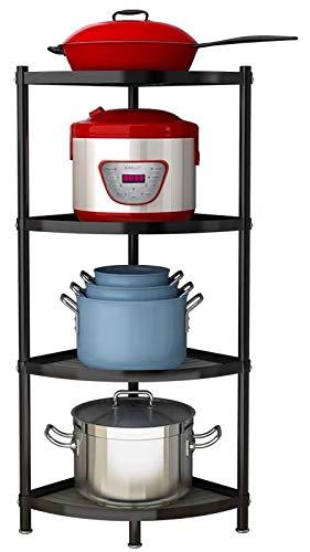 Kakeah 4-Tier Kitchen Corner Shelf Rack Pot Rack Storage Organizer Stainless Steel Shelves Shelf Holder for Home Office Kitchen Organizer