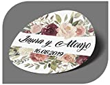 CrisPhy Pegatinas Personalizadas Boda con Nombre y Fecha, Etiquetas Adhesivas para Invitacion Boda, Bautizo, Compromiso, Comunion, Cumpleaños, Fiesta, Vintage, Sellos (Modelo 2)