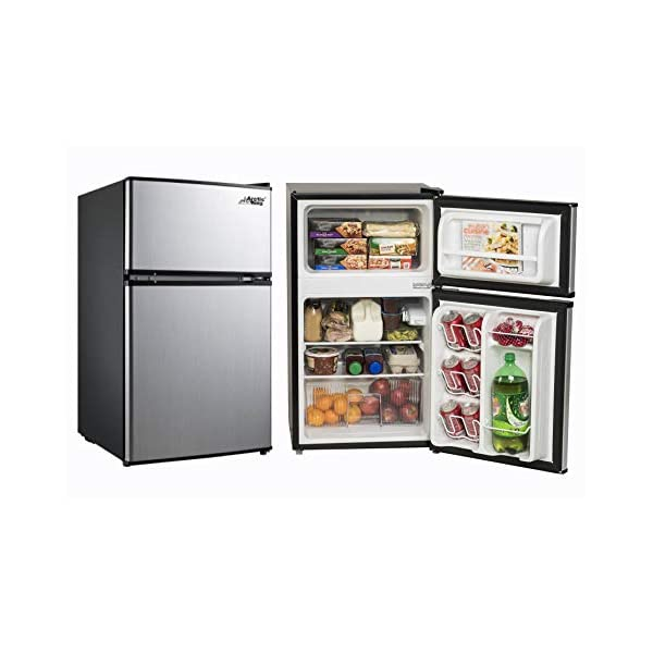Small Refrigerator with Freezer for Office or Dorm Apartment. Compact Undercounter Mini Fridge Combo Appliance for Bedroom or Room at Home Double Door Stainless Steel. 3.2 Cubic Feet Capacity. Silver
