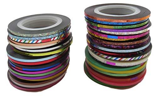 39St. Farbiges Klebeband (Effekt-Farben), 2mm x 20Meter – Bastelband für Deko Basteln – Klebefolien Set mit vielen Glanz, Chrom, Metallic – 780 Meter Farb-Band