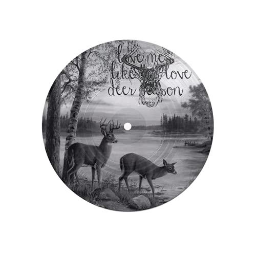 Posavasos de Discos para Bebidas,Alce Ciervos Parejas asta Cerca del río Black Deer Season Fairy Land,Absorbente 6 Piezas Posavasos de Disco protección eficaz Escritorio