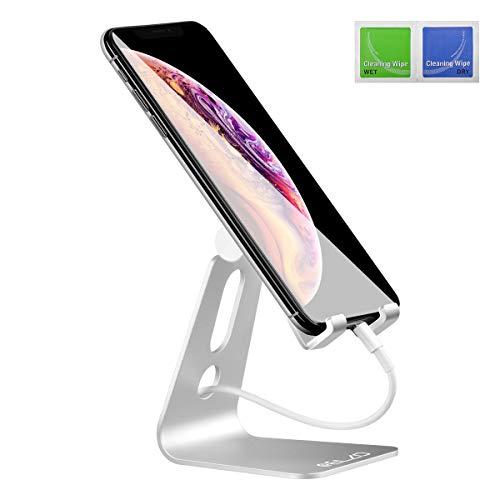 ELZO Supporto Telefono, Universale Supporto, Supporto da Tavolo Phone Holder Regolabile per iPhone XS XS Max XR X 8 7 6 6S Plus, Huawei, Samsung S9 S8 S7 S6 S5, Scrivania, Altri Smartphone - Argento