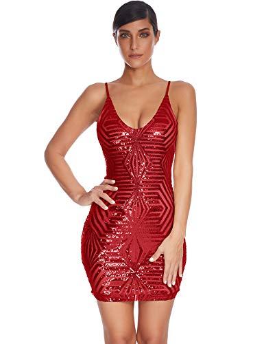Meilun - Mini abito da donna sexy con scollo a V e paillettes, aderente e aderente - rosso - XL
