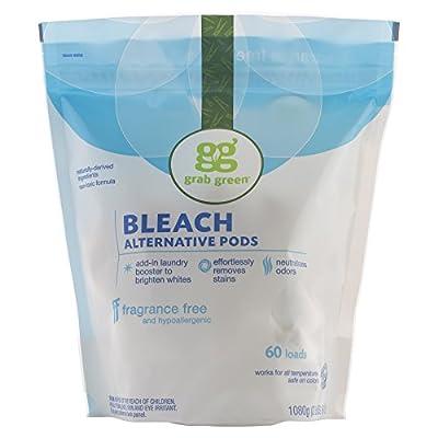 Grab Green Natural Bleach Alternative Pods, Unscented/Free & Clear, 60 Loads, Non-Chlorine Bleach, Fragrance Free