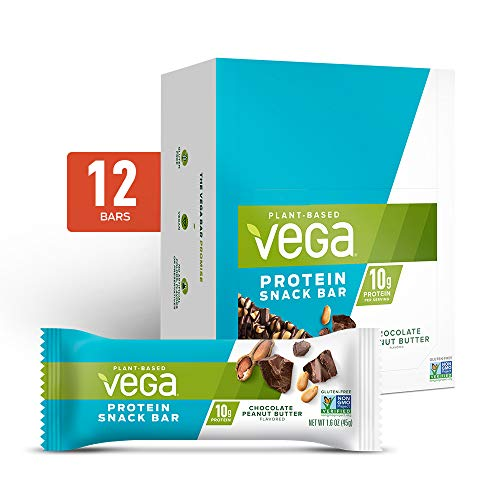 Vega Protein Snack Bar, Chocolate Peanut Butter - Vegan Protein Bars, Plant Based, Vegetarian, Dairy Free, Gluten Free, Soy Free, Non GMO (12 Count)
