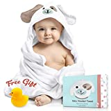 FOREVERPURE Baby Hooded Towel 100% Organic Bamboo Cotton. Super Absorbent, for Boys and Girls. Super Soft, X-Large, 35 x 35 inches. Perfect with Bonus Washcloth and Greeting Card (White-Puppy)
