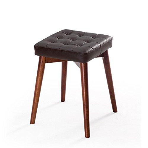 Rollsnownow Coussin en cuir noir Tabourets en bois massif Creative Fashion Dressing Tabouret Tabouret de table en tissu Accueil Petit banc (Color : Brown wooden frame)