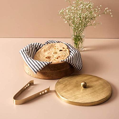 A HANDMDE BEAUTIFUL Wooden Roti Chapati Box Container for Kitchen Hot Roti Pot Wood Casserole product image