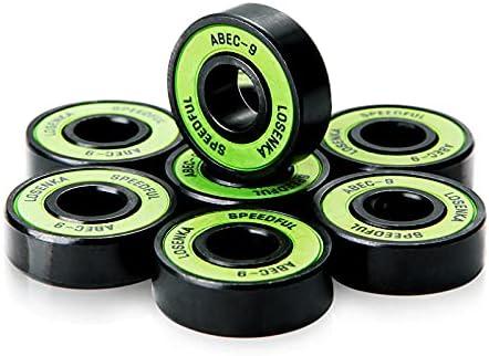 Rodamientos ABEC 9 Chrome de Alta precisión. Cojinetes de Acero Cromado bajo coeficiente fricción para Skateboard, Longboard, Patines, monopatin, patinetas, Scooter, Skate, surfskate, Cruiser