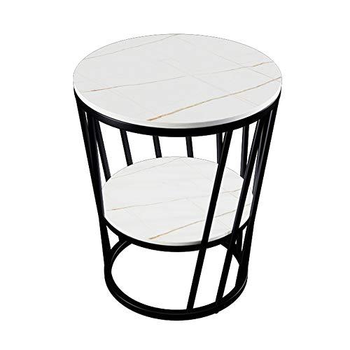Marmor Couchtisch, Steinplatte runden Beistelltisch, verwendet in Wohnzimmer, Balkon, Schlafzimmer, etc, doppelte Lagerung, konisches Aussehen Design, Eisenkunst, langlebig/C / 50cm