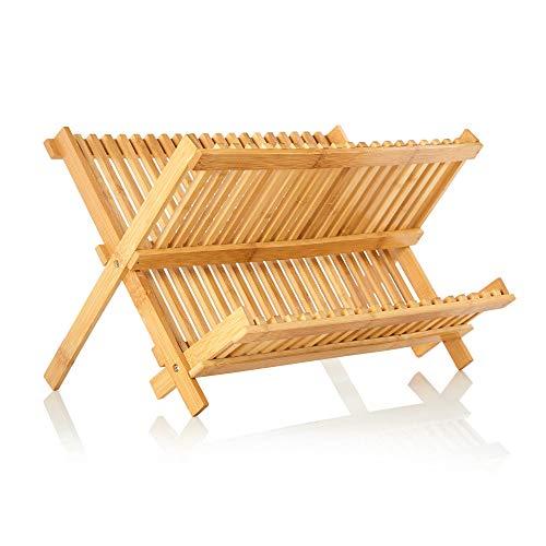 bambuswald© klappbares Abtropfgestell für Geschirr 100% Bambus - ökologisches Küchenzubehör für Zuhause, Camping o. Büro mit Platz für Teller | Tassen | Abtropfgitter Abtropfständer Geschirrabtropfer