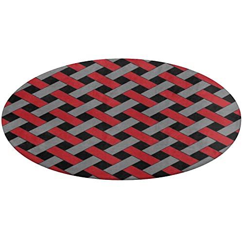 Alfombra redonda de baño, diseño de mimbre, color rojo, gris y negro,...
