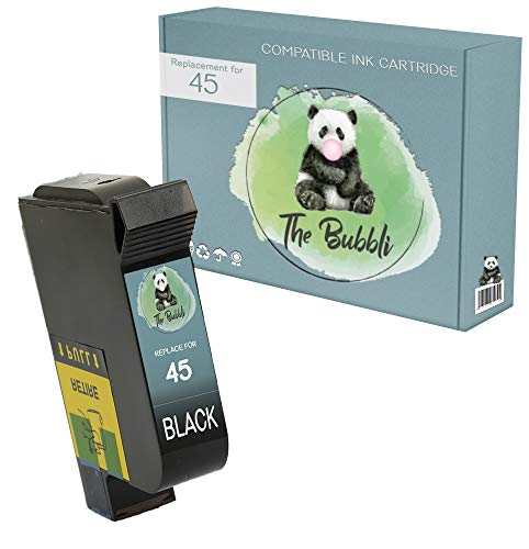 The Bubbli Original   45 Remanufacturado Cartucho de Tinta Compatible para HP Deskjet 1280 9300 970cxi Officejet 1170 G55 G85 Photosmart 1000 1100 1115 1215 1315 P1000 P1100 Copier 180 280 (Negro)