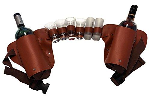 Liquor Holster - Liquor Belt - Shot Holder New and Improved! (Brown)