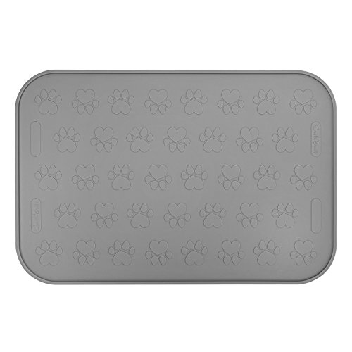 SmithBuilt 19' x 12' Dog Food Mat - Waterproof Non-Slip FDA-Grade Silicone Cat Pet Bowl Feeding Placemat - Gray