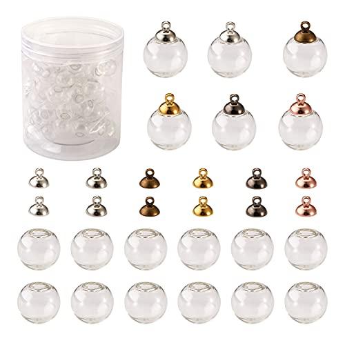 Cheriswelry 120 piezas mini globo de vidrio vacío colgante hueco bola de vidrio transparente botella frasco de la botella de la cúpula de los encantos para DIY joyería pendiente artesanía fabricación