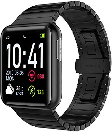 Reloj inteligente con pantalla a color, frecuencia cardíaca, presión arterial, SPO2, pulsera inteligente para Android, PPG, ECG, monitor de actividad física, reloj negro