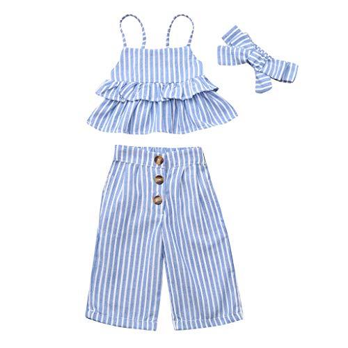 Kleinkind Mädchen Gestreift Rüsche Tops T-Shirt + Hose + Stirnband Set