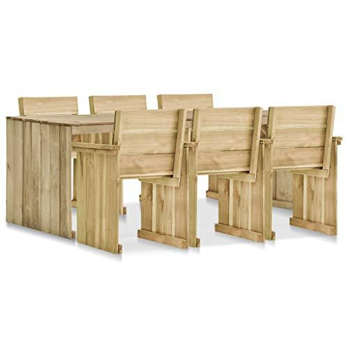 vidaXL Kiefernholz Imprägniert Gartenmöbel 7-TLG. Gartengarnitur Sitzgruppe Gartenset Sitzgarnitur Esstisch Gartentisch Tisch Stühle