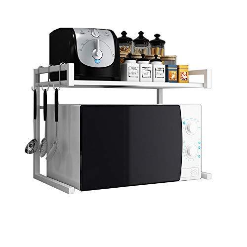 ZXZJ Küchenregal - Mikrowellen-Backofenständer, ausziehbarer schwarzer Backofenständer, multifunktionale Aufbewahrung, tragend, aus Metall/Weiß