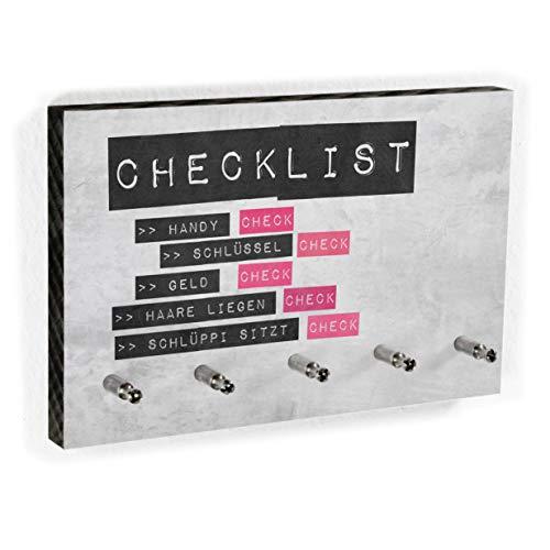 Schlüsselbrett Checklist für Frauen | Nichts mehr vergessen - Lustiges Schlüsselboard für Mädels - 5 Haken - Handmade