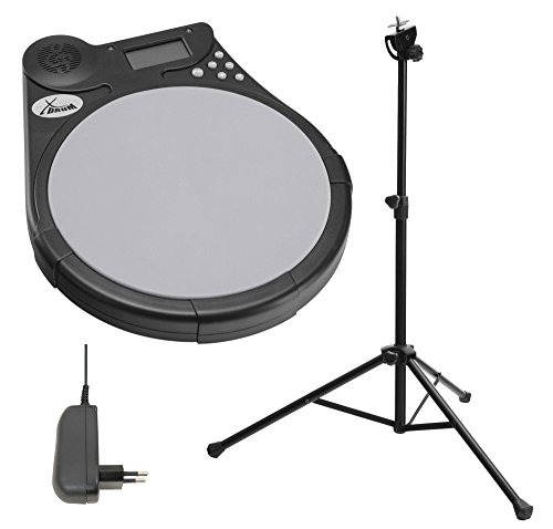 XDrum DT-950 Drum Trainer Rhythm Coach SET inkl. Stativ und Netzteil (Mute Drum Tutor, Silikon Pad, Metronom, Übungsprogramme, LCD Display, inkl. 9V Batterie, Pad Ständer)