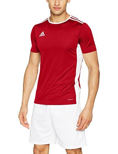 adidas Entrada 83 Camiseta de Fútbol para Hombre de Cuello Redondo en Contraste, Rojo (Power Red/White), XL