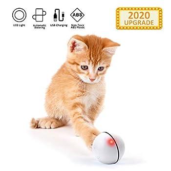 EKKONG Jouet Interactif pour Chat,Balle Animée Intelligente, Automatique à Bille Roulante, Ballon Rotatif à 360 Degrés, Balle Jouet de Chat Rechargeable avec Lumière LED pour Chatons (Blanc)
