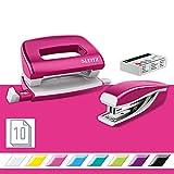 Leitz 55612023 - Juego de mini grapadora y mini perforadora (capacidad: 10 hojas), color r...