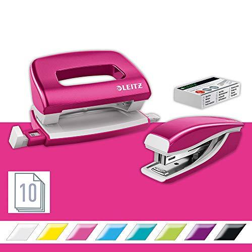 Leitz 55996023 Mini-Heftgerät-und Locher-Set (für bis zu 10 Blatt, Inkl. Heftklammern, WOW) metallic pink